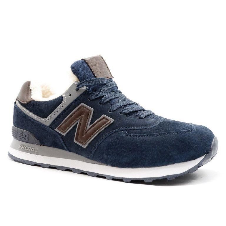 New Balance 574 Синие с коричневым с мехом