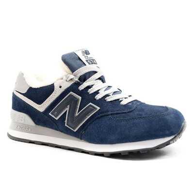 New Balance 574 Бело-синие с мехом