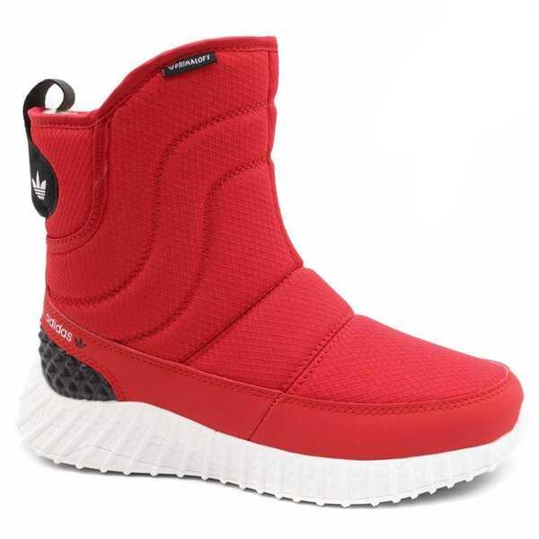 Дутики Adidas Boost D64 Красные с мехом