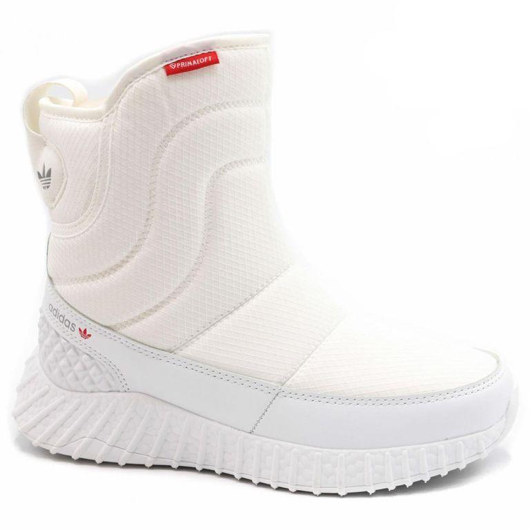 Дутики Adidas Boost Белые с мехом