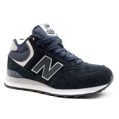 New Balance 574 Mid Темно-синие с мехом