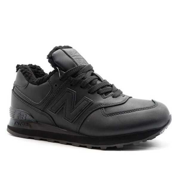 New Balance 574 Mid Черные кожаные с мехом