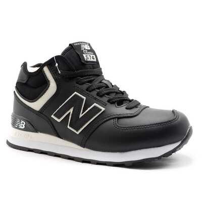New Balance 574 Mid Черно-белые кожаные с мехом